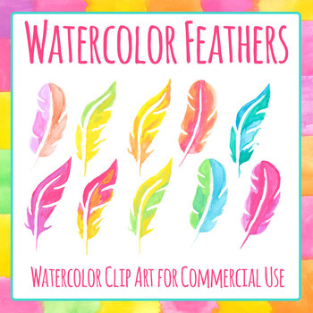 Watercolor Handpainted Pictures of Feathers Clip Art Set for Commercial Use