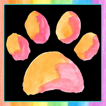 Watercolor Handpainted Puppy Paw Prints Clip Art Set for Commercial Use