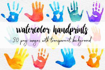 Watercolor Handprint Clipart, Colorful Handprints, Watercolor Clipart