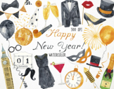 Watercolor Happy New Year Clipart, New Year Graphics, Christmas Clipart