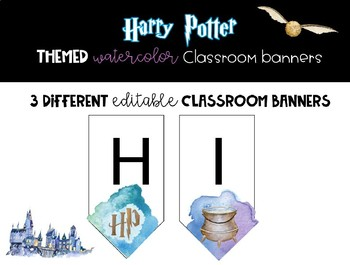 Watercolor Harry Potter Themed Classroom Banners - Editable