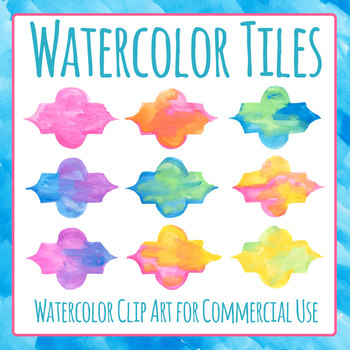 Watercolor Headers / Nametags / Tiles / Quote Frames Clip Art Set Commercial Use