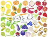 Watercolor Healthy Food Clipart, Fruits Clipart, Vegetable