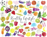 Watercolor Healthy Lifestyle Clipart, Gym Clipart, Health Clipart