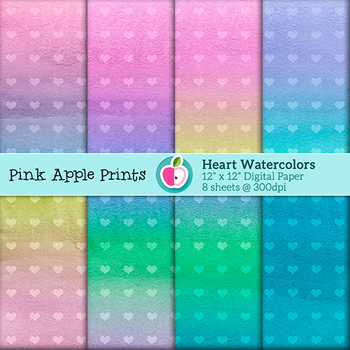Watercolor Heart Style Digital Paper Texture Set - Graphics for Teachers