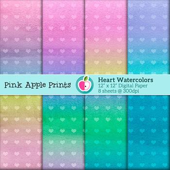 Watercolor Heart Style Digital Paper Texture Set - Graphics for Teachers