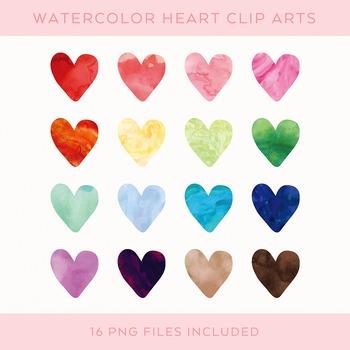 Watercolor Heart Clip Art Set