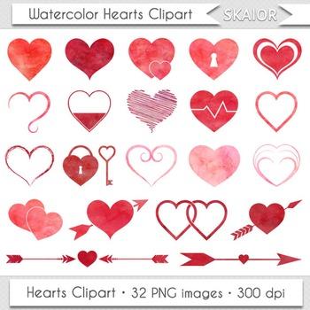 Watercolor Hearts Clip Art Heart Clipart Scrapbooking Icons Love Doodle