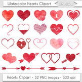 Watercolor Hearts Clip Art Heart Clipart Scrapbooking Icon