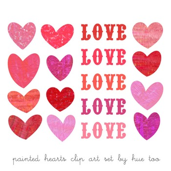 Watercolor Hearts Clip Art, Red and Pink Hearts, Valentine's Day Clip Art