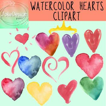 Watercolor Hearts Clipart | Valentine's Day Clipart