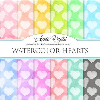 Watercolor Hearts Digital Paper bright watercolour pattern scrapbook background