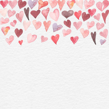 Watercolor Hearts Frame Clipart