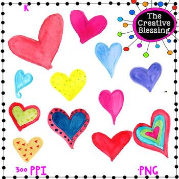 Watercolor Hearts Valentine Clip Art
