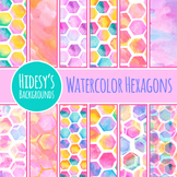 Watercolor Hexagon Backgrounds / Patterns / Digital Paper
