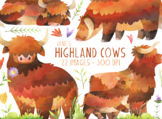 Watercolor Highland Cows Clipart