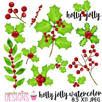 Watercolor Holly Jolly Digital Clip Art Set