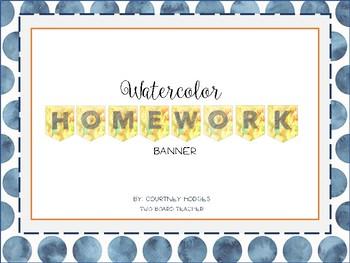 Watercolor Homework Banner