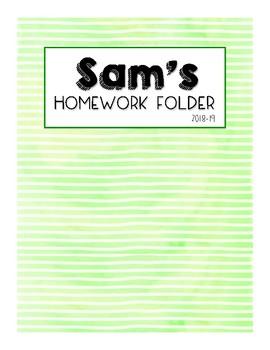 Watercolor Homework Folders