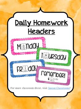 Watercolor Homework Headers