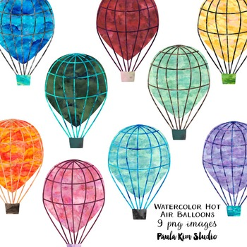 Watercolor Hot Air Balloon Clip Art
