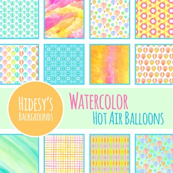 Watercolor Hot Air Balloons Digital Paper / Background for Commercial Use