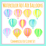 Watercolor Hot Air Balloons Hand Painted Clip Art for Commercial Use