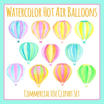 Watercolor Hot Air Balloons Hand Painted Clip Art for Comm