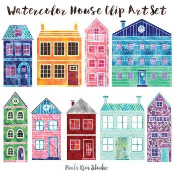 Watercolor House Clip Art Set