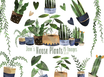 Watercolor House Plant Clip Art, Indoor Plants Potted Plant Graphics  Illustrations