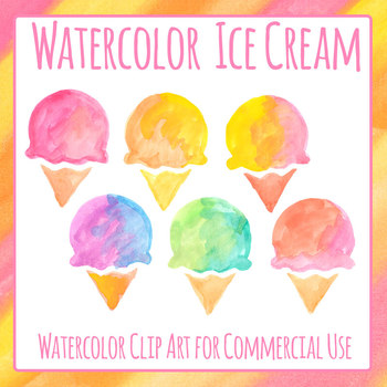 Watercolor Ice Creams Clip Art Set for Commercial Use