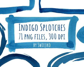 Watercolor Indigo Frames, splotches