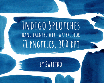 Watercolor Indigo Splotche, brush strokes
