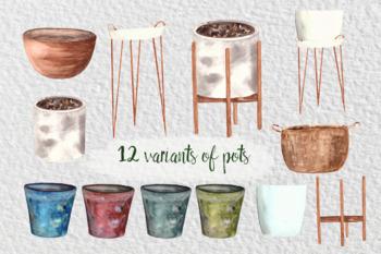 Watercolor Indoor Plants Clip Art Set