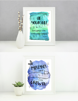 Growth Mindset Posters for Watercolor Theme