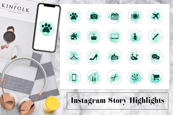 Watercolor Instagram Story Highlights Icons, Lifestyle Instagram Icons