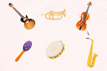 Watercolor Instruments Clipart, Musical Instruments