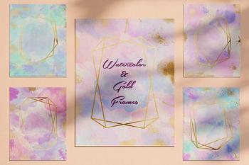 Watercolor Invitation Frames, Unicon Watercolor & Gold Frames