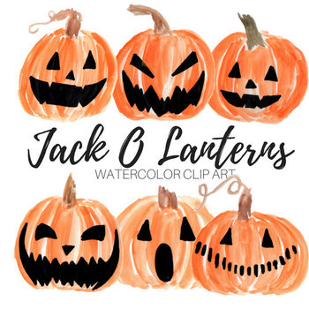 Watercolor Jack O Lantern Clipart