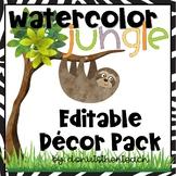 Watercolor Jungle Decor Pack