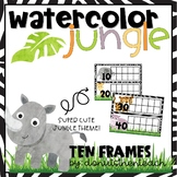 Watercolor Jungle Tens Frames for Counting Days in School