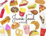 Watercolor Junk Food Clipart, Fast Food Clipart, Junk Food