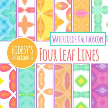 Watercolor Kalidoscope 4 Leaf Digital Paper / Backgrounds Clip Art Set