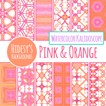Watercolor Kalidoscope in Pink and Orange Digital Papers / Backgrounds /Clipart