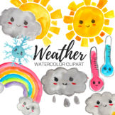 Watercolor Kawaii Cute Weather Clipart - Commercial Use