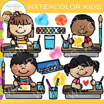 Watercolor Kids Art Clip Art