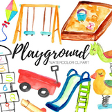 Watercolor Kids Playground Clipart