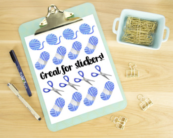 Watercolor Knitting Clipart