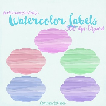 Watercolor Labels, 6 inch 300 dpi