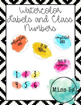 Watercolor Labels and Class Numbers